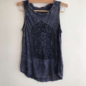 Lucky Brand Embroidered Acid Wash Tank M